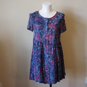 Mink Pink patterned button down babydoll dress
